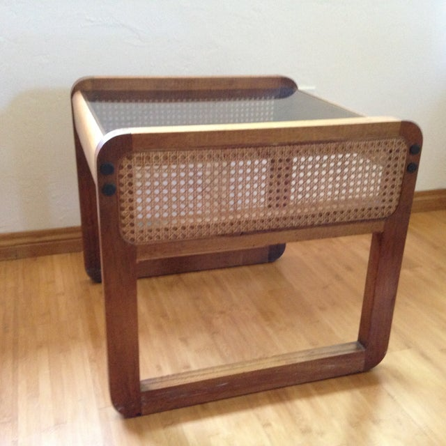 Teak and Rattan Side Table - Image 3 of 8