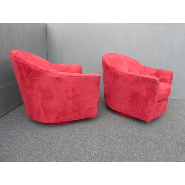 1970s Mid Century Modern Milo Baughman Style Red Swivel Chairs - a Pair For Sale - Image 9 of 13