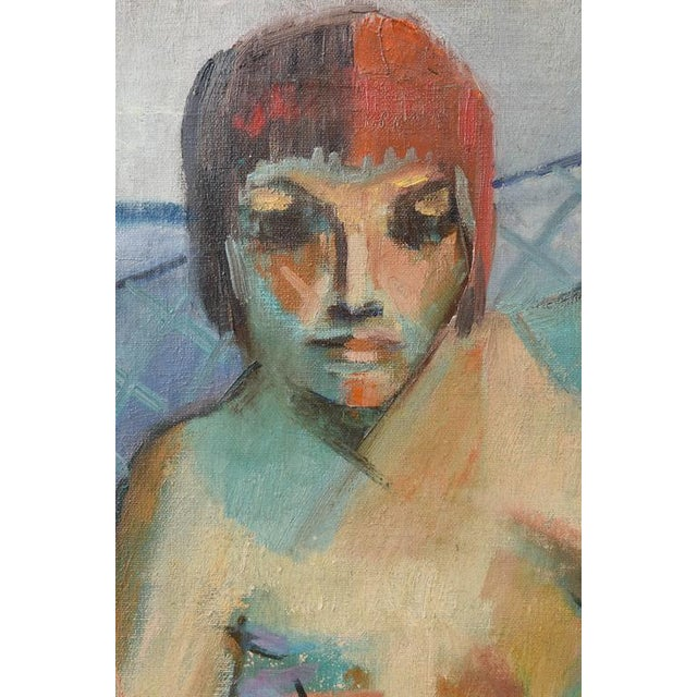 Canvas Mid-Century Modern Female Nude Painting Signed F. Krieger (American) For Sale - Image 7 of 9
