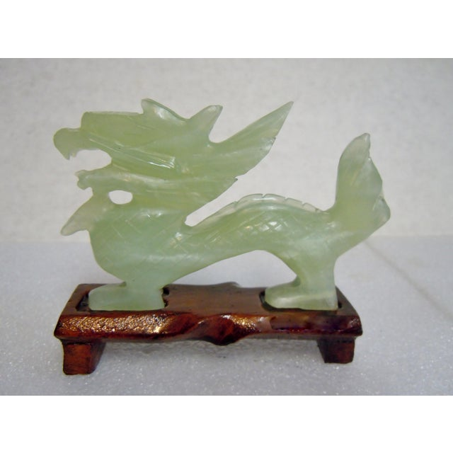 Chinese Bowenite Hard Stone Carved Dragon on Stand For Sale - Image 13 of 13