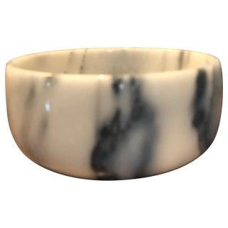 Italian White Carrera Marble Bowl For Sale