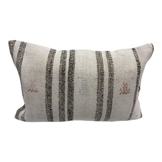 Antique Turkish Striped Lumbar Pillow Cover For Sale