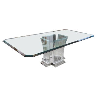 Glass, Lucite & Nickel Plated Dining Table by Jeffrey Bigelow 1980s For Sale