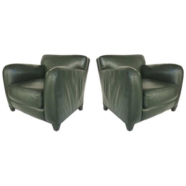 Donghia Leather Club Chairs From the Main Street Collection in Forest Green For Sale - Image 9 of 9