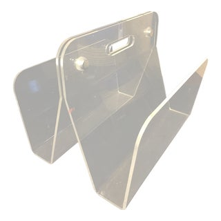 1960s Minimalist Lucite Magazine Holder For Sale
