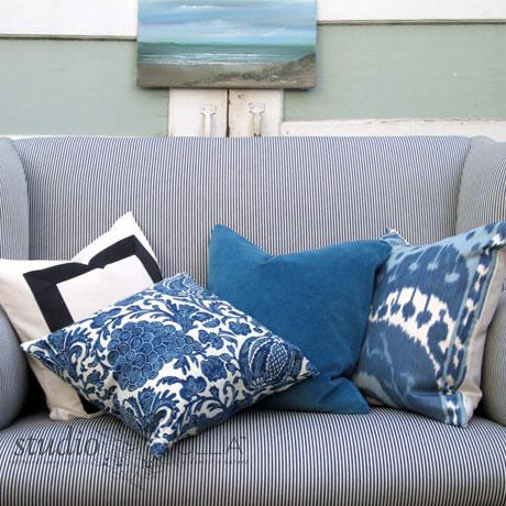2010s Indigo Batik Floral Decorative Pillow Cover For Sale - Image 5 of 6
