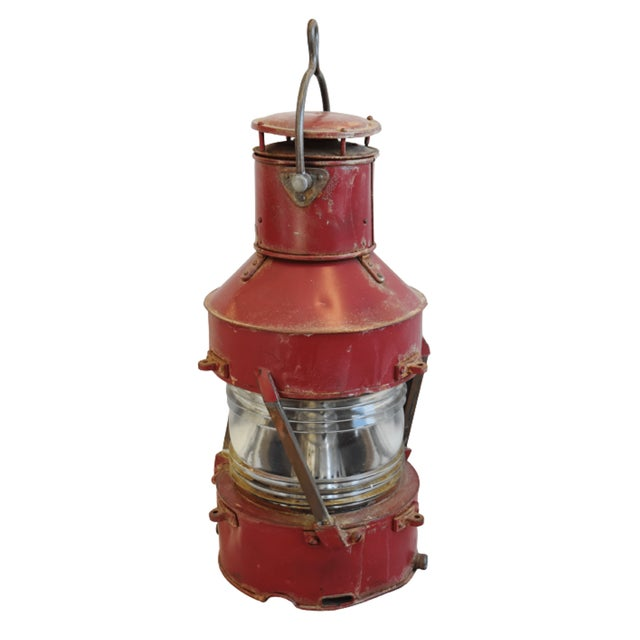 Large Red Antique English Maritime Ship's Lantern For Sale - Image 4 of 8