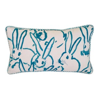 Lee Jofa Groundworks Bunny Hutch Print Turquoise Pillow Cover, 12x20 For Sale