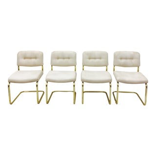 Vintage Lacquered Brass Chrome Craft Dining Chairs - Set of 4