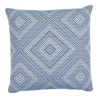 Schumacher Tortola Indoor/Outdoor Pillow in Marine For Sale