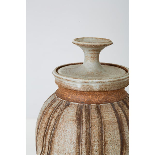 White California Modern Incised Studio Pottery Vessel With Lid by Don Jennings For Sale - Image 8 of 13