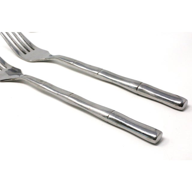 1980s Vintage Inox Bamboo Stainless Steel Flatware - Set of 15 For Sale - Image 5 of 9