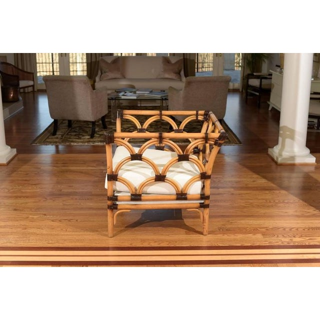 Mid-Century Modern Amazing Pair of Scalloped Rattan Club Chairs by Peter Rocchia for Wicker Works For Sale - Image 3 of 11