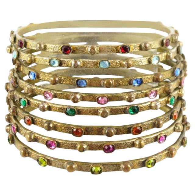 French Henry Perichon Gilt Bronze Bracelet Bangle Spacer 8 Pieces With Stones For Sale