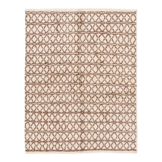 21st Century Contemporary Ivory Moroccan Tribal Wool Rug For Sale