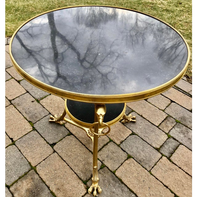 French Louis XVI Style Bronze 2 Tier Marble Top Gueridon Table For Sale - Image 3 of 8