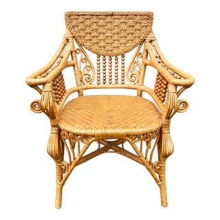 Maitland Smith Natural Wicker Bamboo Rattan Spiral Peacock Chair For Sale