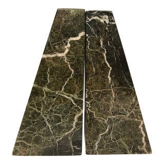 Angled Green Marble Bookends - a Pair For Sale