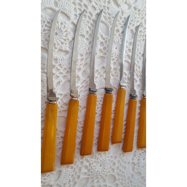 Butterscotch Yellow Bakelite Filet Fish Knives - Set of 11 For Sale - Image 9 of 11
