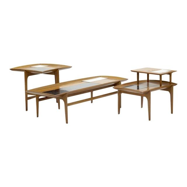 Set of Three Vintage Midcentury Modern Tables Designed by John Keal for Brown Saltman For Sale