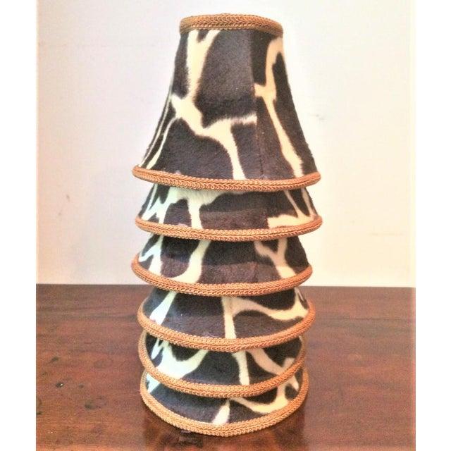 Silk-Lined Velvet Cow Hide Pattern Lamp Shades for Chandelier or Sconces - Set of 6 For Sale - Image 9 of 10