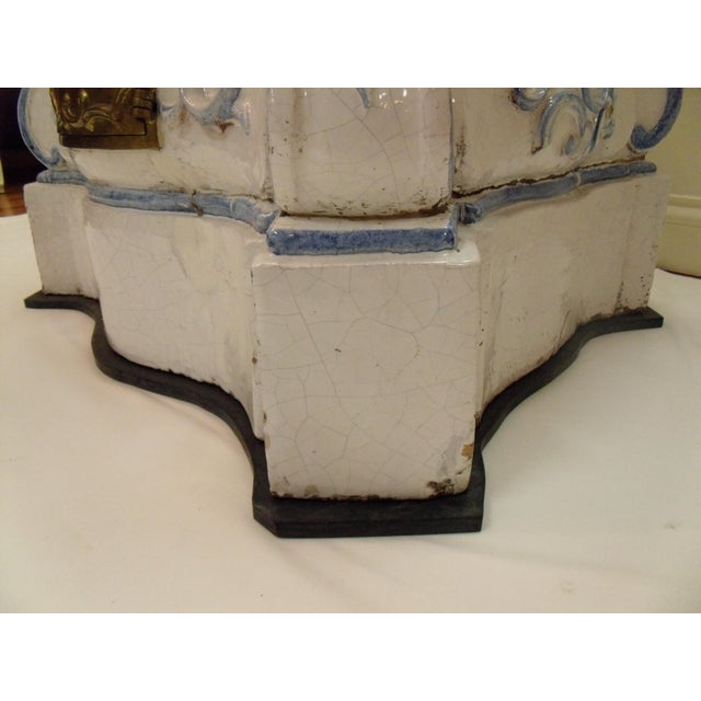 Italian Ceramic Delft Terracotta Parlor Stove For Sale - Image 12 of 13