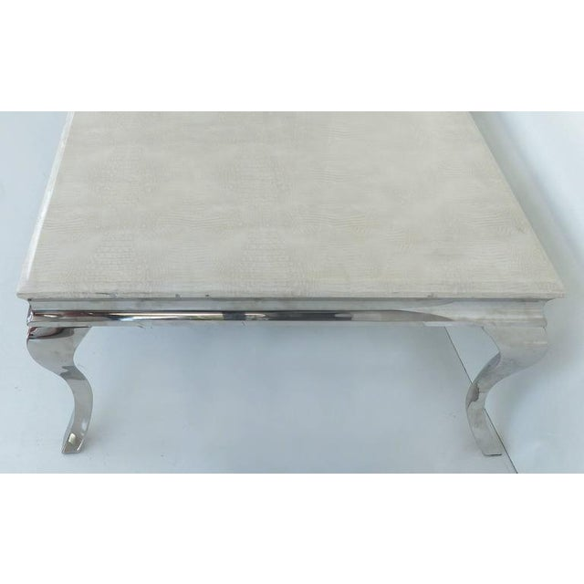 1980s Stainless Steel Cocktail Table with Lacquered Snakeskin Finish Marble Top For Sale In Miami - Image 6 of 9