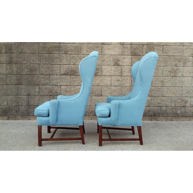 1960s Mid Century High Back Wing Arm Chairs-A Pair For Sale - Image 5 of 6
