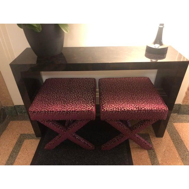 Two (2) Brand new Ballard Design X-Stools; custom upholstered in elegant Osborne & Little Tupai velvet dotted fabric...