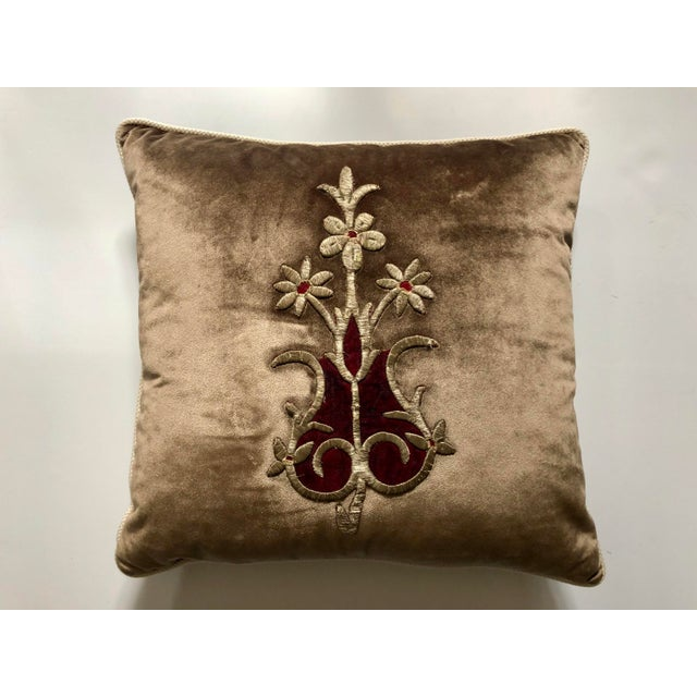 19th Century Metallic Silver Wire Floral Embroidery Brown Velvet Pillow For Sale - Image 13 of 13