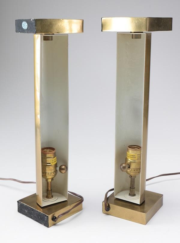 Brass Pillar Bookshelf Lamps   A Pair   Image 3 Of 7