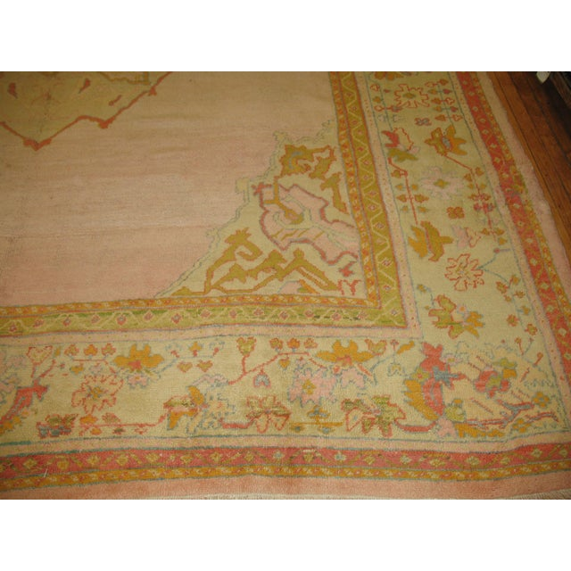 Textile Bright Pink Antique Turkish Oushak Rug, 11' X 12'2'' For Sale - Image 7 of 10