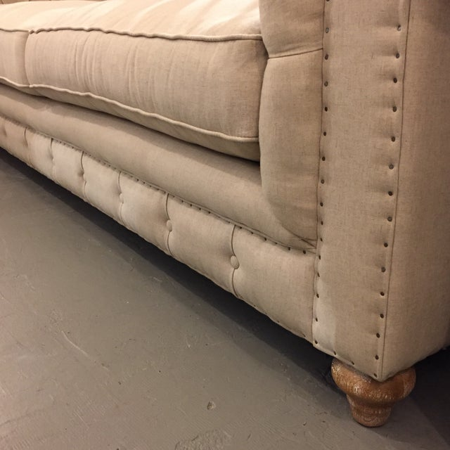 Chesterfield Style Oatmeal Linen Sofa - Image 5 of 8
