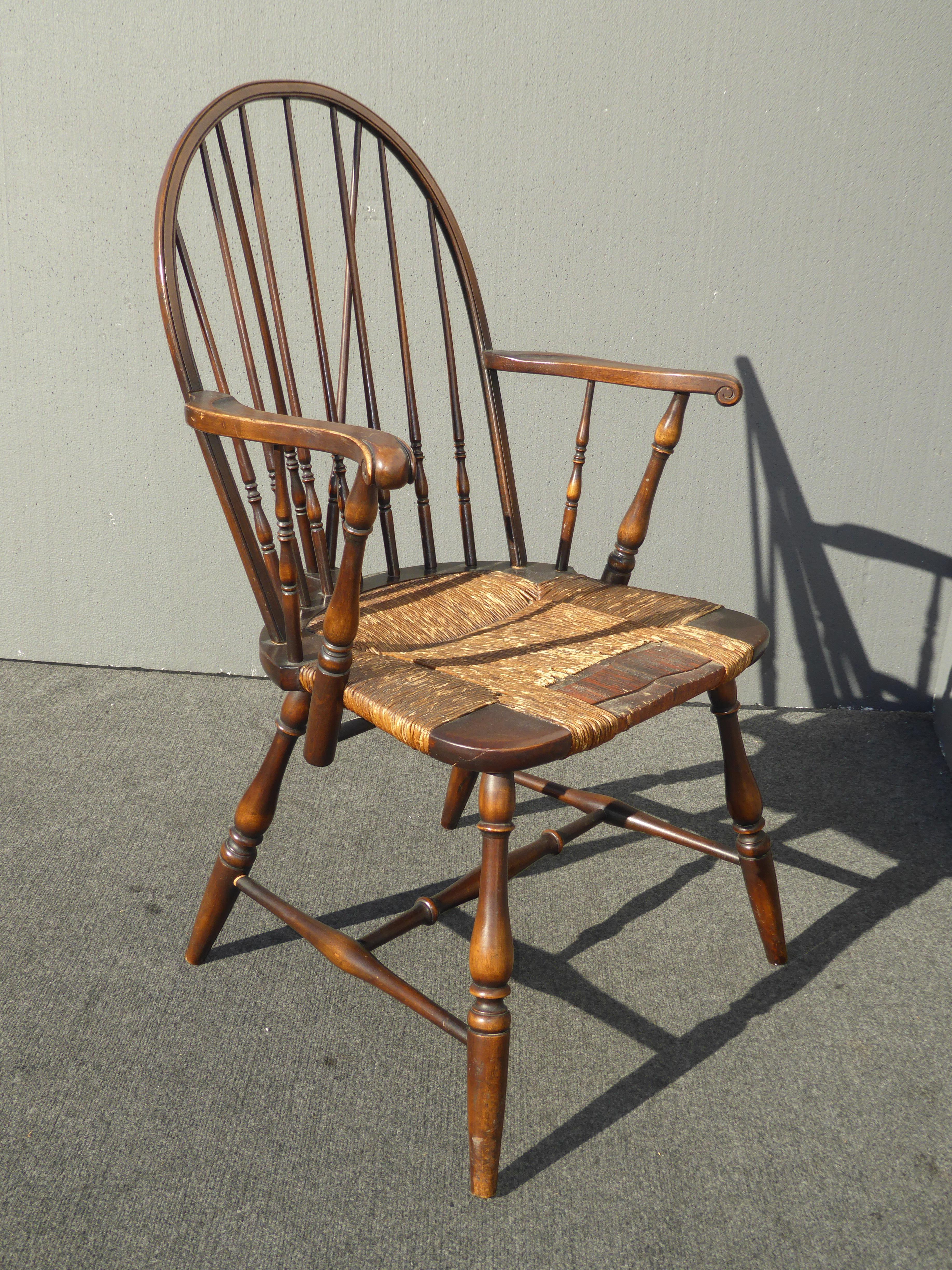 Solid Wood Rush Seat Rustic Windsor Arm Chair   Image 6 Of 11