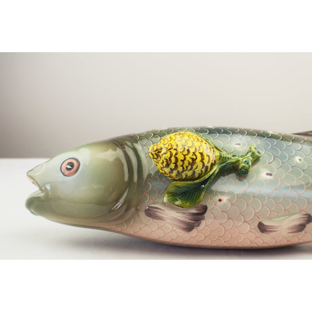 Green Tiffany & Co Majolica Syle Fish Ceramic Server For Sale - Image 8 of 9