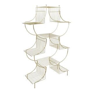 1950s Art Deco Brass Wire Plant Stand