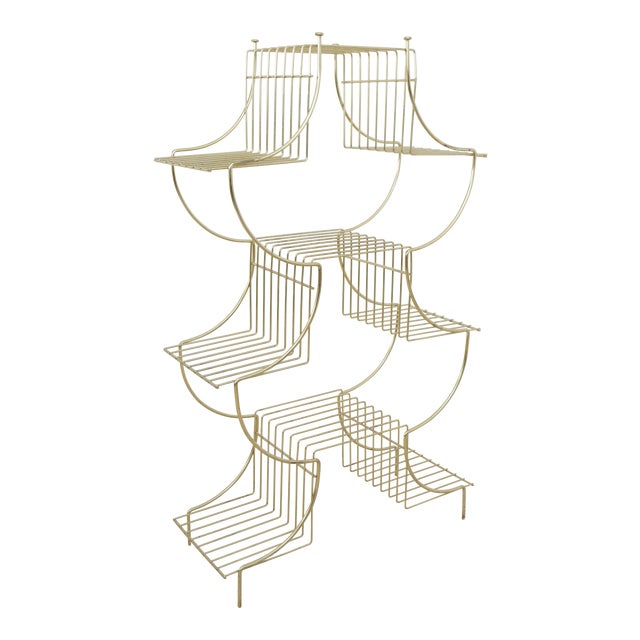 1950s Art Deco Brass Wire Plant Stand For Sale