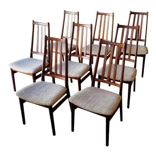 Danish Mid-Century Modern High Back Dining Chairs - Set of 8 For Sale