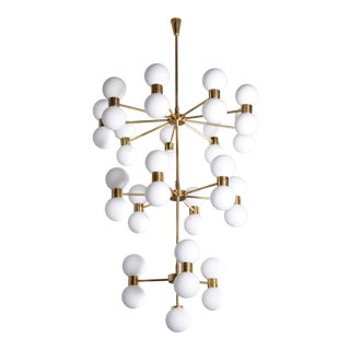 One of Two Exceptional Huge Brass and Frosted Glass Chandelier Style of Stilnovo