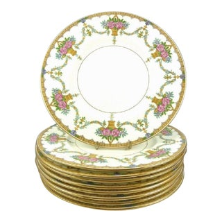 Antique Minton Plates / Salad Dessert First Course 9 /Set of 8 / Gilt Swags Flowers & Baskets/ English Porcelain / Formal Table Settings For Sale