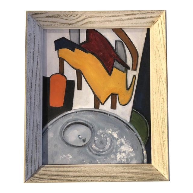 Vintage Modernist Abstract Still Life Painting Vintage Frame 1970's For Sale