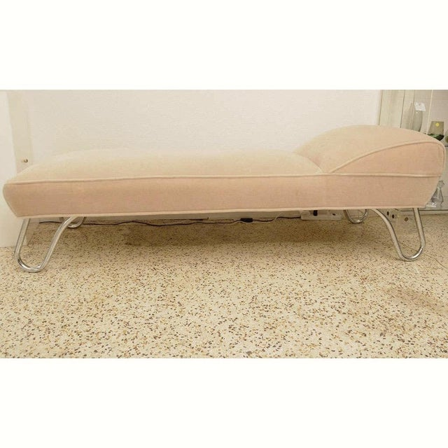 Camel Vintage 1920s Kem Weber Chaise Streamline Moderne Style in Polished Chrome and Camel/Tan Mohair For Sale - Image 8 of 12