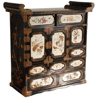 19th C. Japanese Lacquered Cabinet For Sale