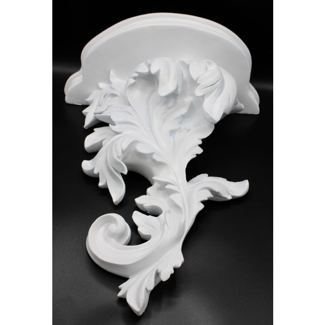 White Large White Acanthus Leaf Wall Shelf For Sale - Image 8 of 12