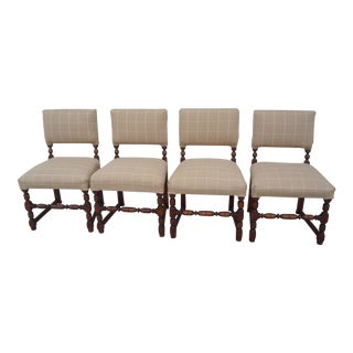 Vintage Walnut Pub Chairs - Set of 4