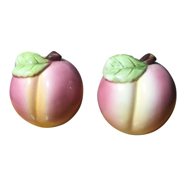 Vintage Peach Shaped Figural Salt & Pepper Shakers - a Pair For Sale
