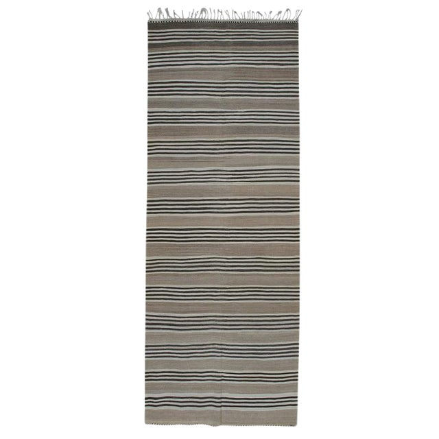 Striped Kilim Wide Runner in Natural Brown For Sale