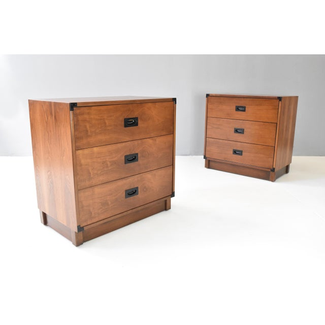 1960s Mid- Century Campaign Style Chests by Drexel - a Pair For Sale - Image 5 of 13