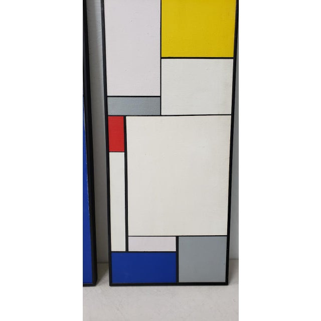 Mid-Century Geometric Abstract Paintings C.1950s - a Pair For Sale - Image 4 of 10