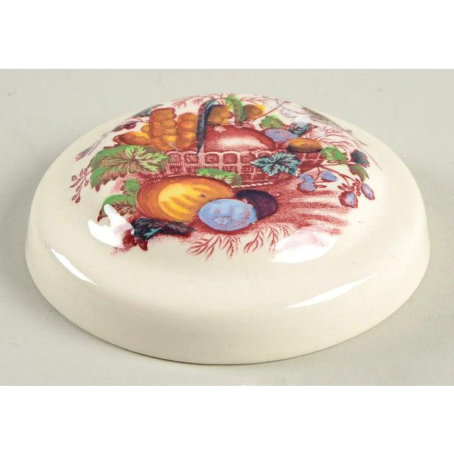 Farmhouse Mason's Fruit Basket Red Multicolor Drip Jar & Lid For Sale - Image 3 of 5